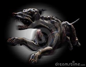 A devilish black dog